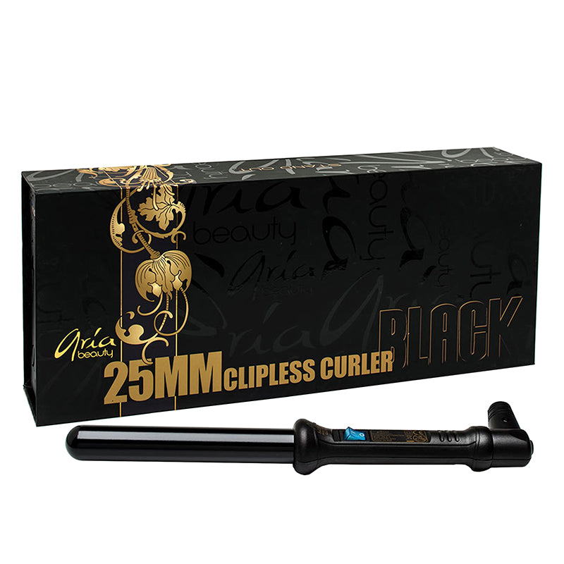 "Aria Beauty 1"" Black Tourmaline Clipless Curling Wand"