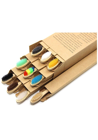 Eco Friendly All Natural Bamboo Toothbrushes  -  10pcs
