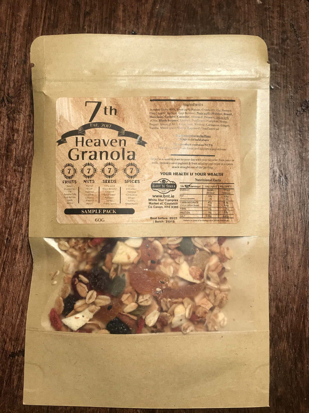 7th Heaven Granola 60g- Sample Pack ***  FREE - ORDER & SHARE - BakeNTukka