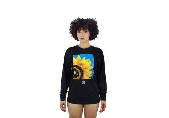 UNISEX LONG SLEEVE SUNFLOWER BLACK TEE