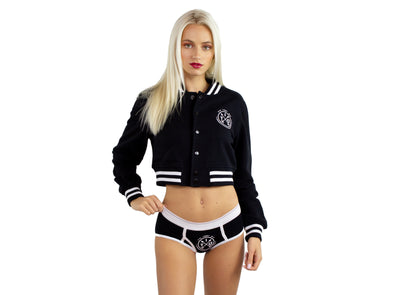 Blck|Blck/White Women's Heavy Terry Cropped Club Jacket