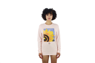 UNISEX LONG SLEEVE SUNFLOWER PALE PINK TEE