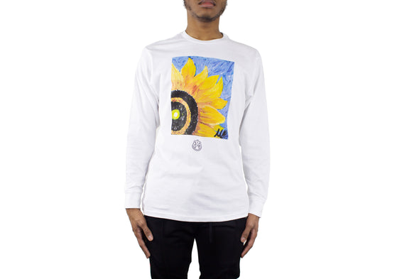 UNISEX LONG SLEEVE SUNFLOWER WHITE TEE