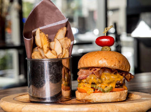 Fox Bacon Cheeseburger with Pub Chips