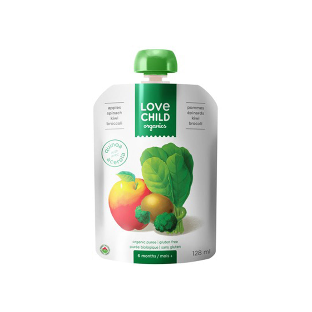 Love Child Organics Puree Superblends, Apples/Spinash/Kiwi/Broccoli - 128 mL