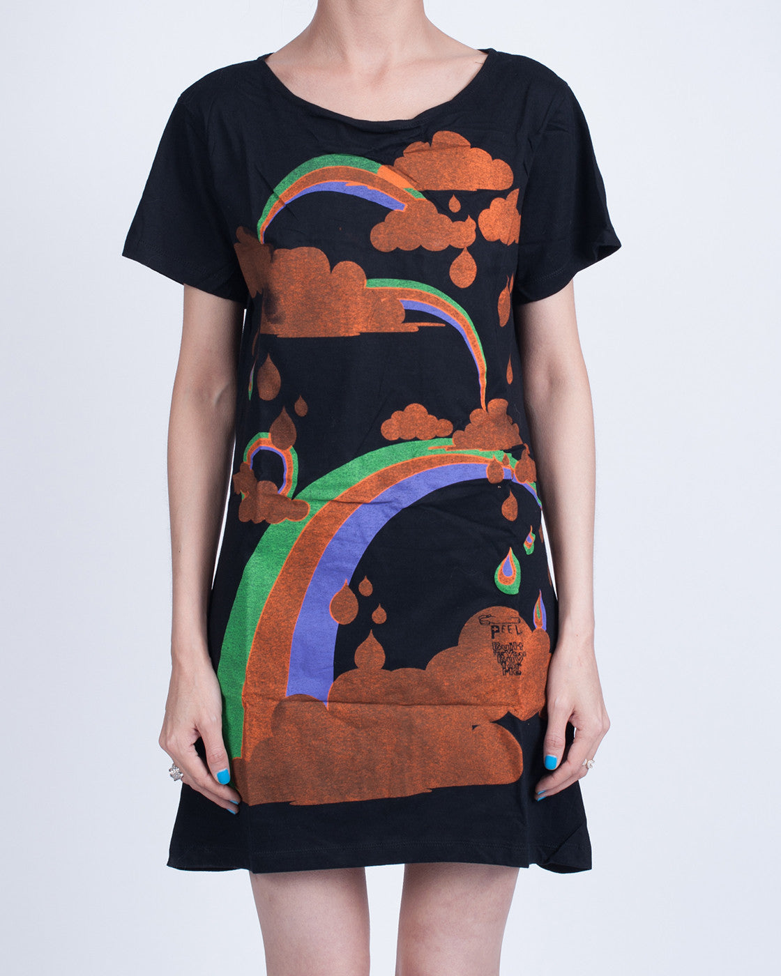 Rainbows and Clouds Black Dress