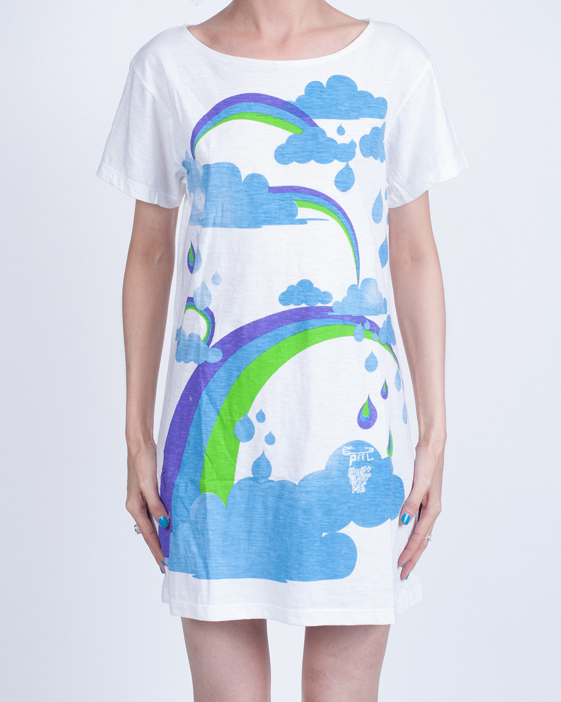 Rainbows and Clouds White Dress