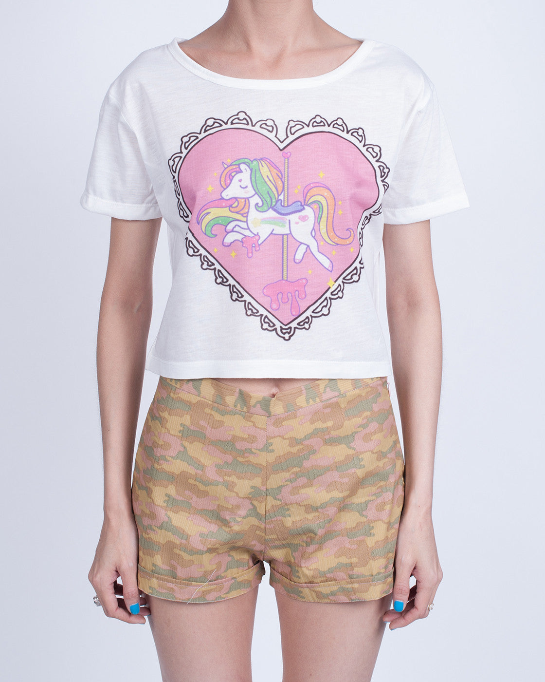 Unicorn in Heart Crop Top