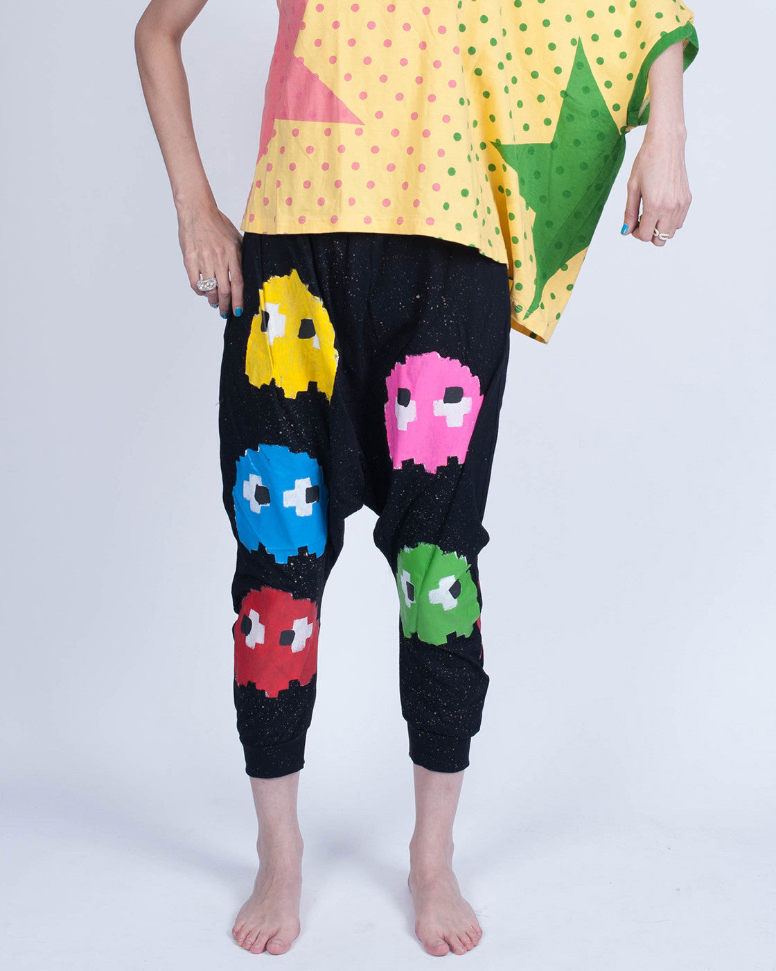 Pac Man Drop Crotch Pants