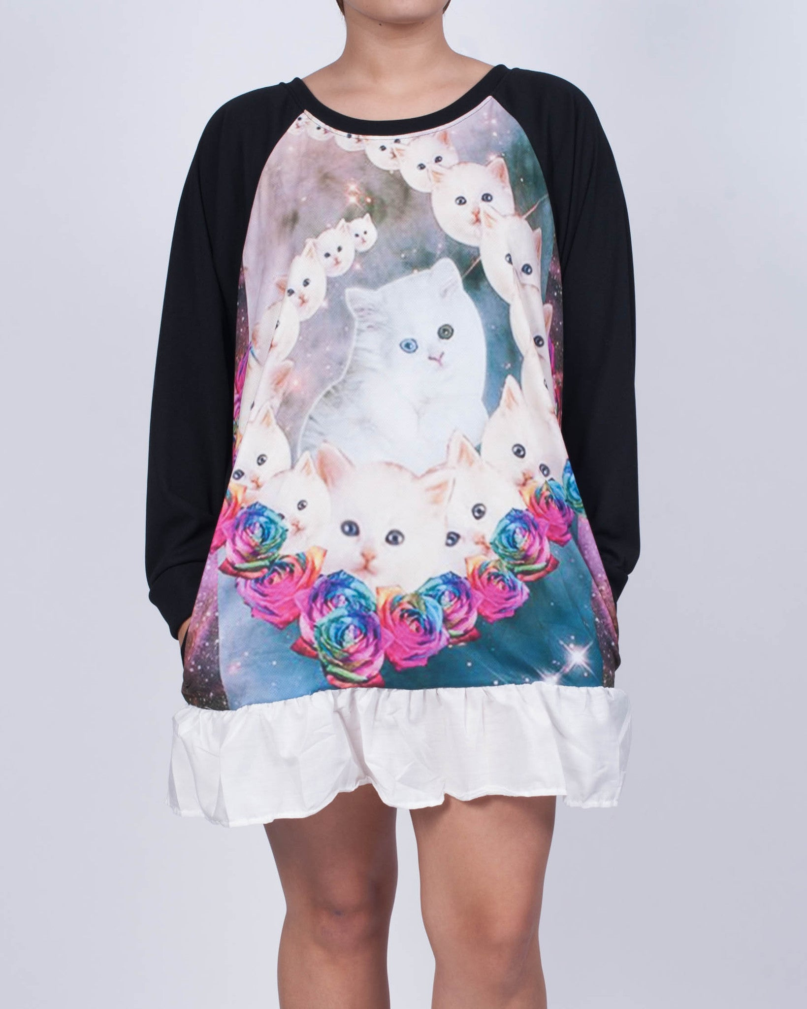 Kitty Cat Galaxy Sweatshirt Dress