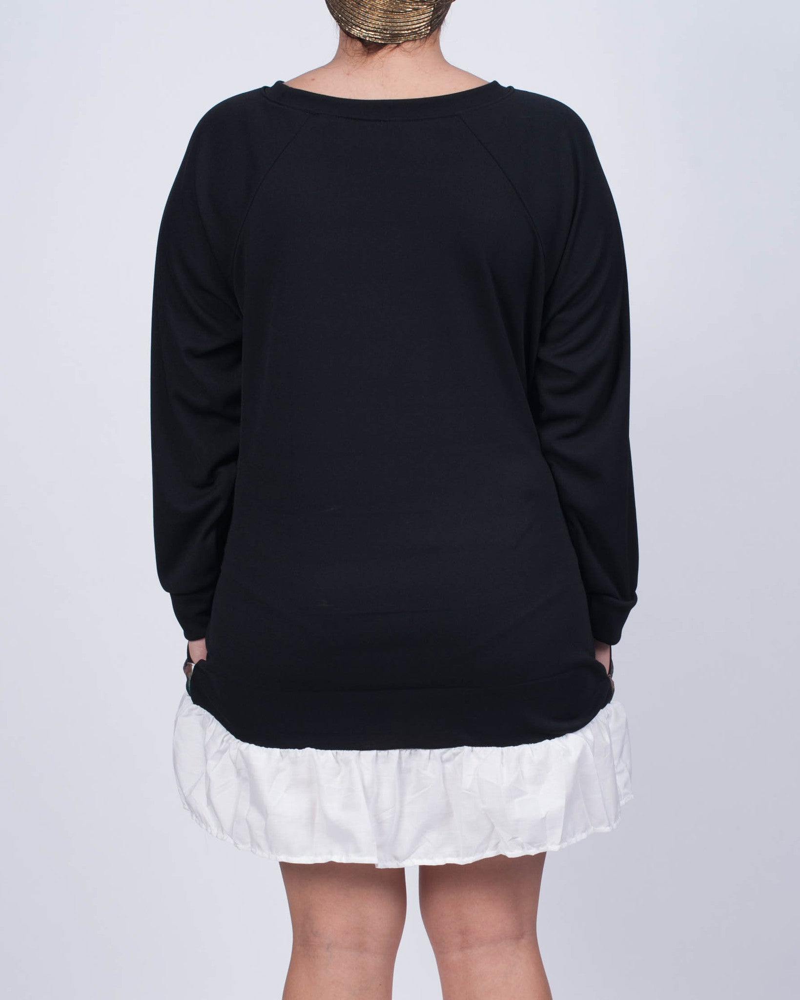 Demure Kitty Cup Sweatshirt Dress