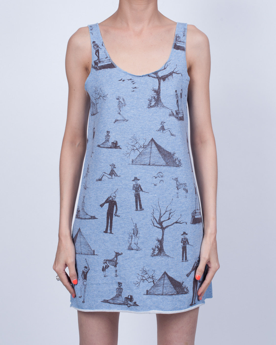 Camping Skeletons Dress Blue