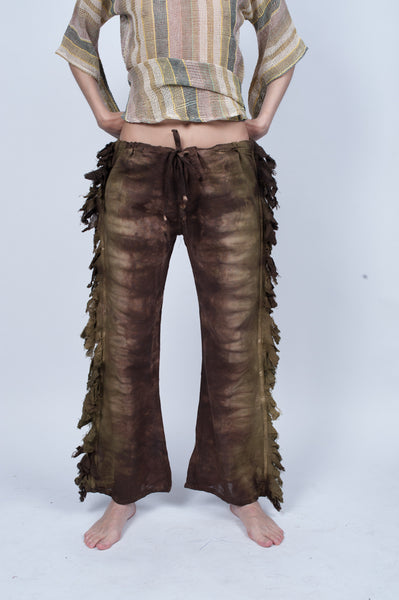 Fringy Drawstring Pants Natural Fall Colors