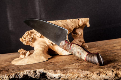 "Burl and Curly Koa Chef Knife 1095 high carbon steel 8"" chef knife. Dyed maple burl, buckeye burl and curly koa handle with purple heart and red G10 liners and copper pins."