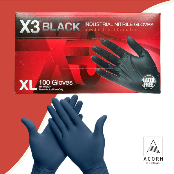 100 ct Ammex X3 Black Industrial Nitrile Gloves  (X-Large, 2XL)