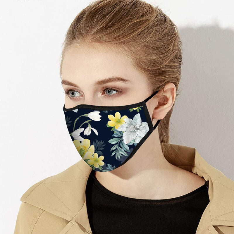 Yellow & Gray Peonies Print Designer Face Mask - Made in USA