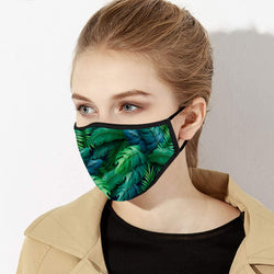 Green & Deep Blue Forest Leaves Designer Face Mask - Made in USA
