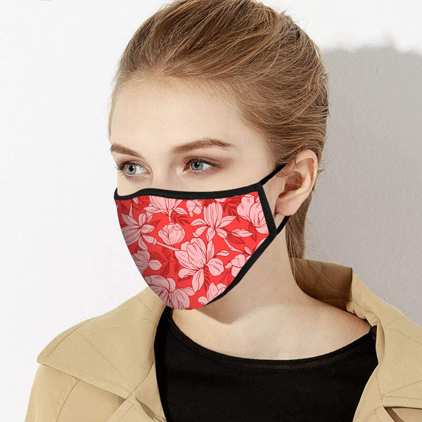 Red & Pink Floral Print Designer Face Mask - Made in USA