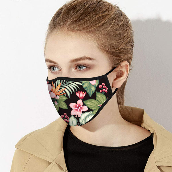 Black Jungle Print Designer Face Mask - Made in USA