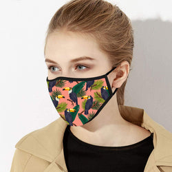 Pink & Blue Toucan Print Designer Face Mask - Made in USA