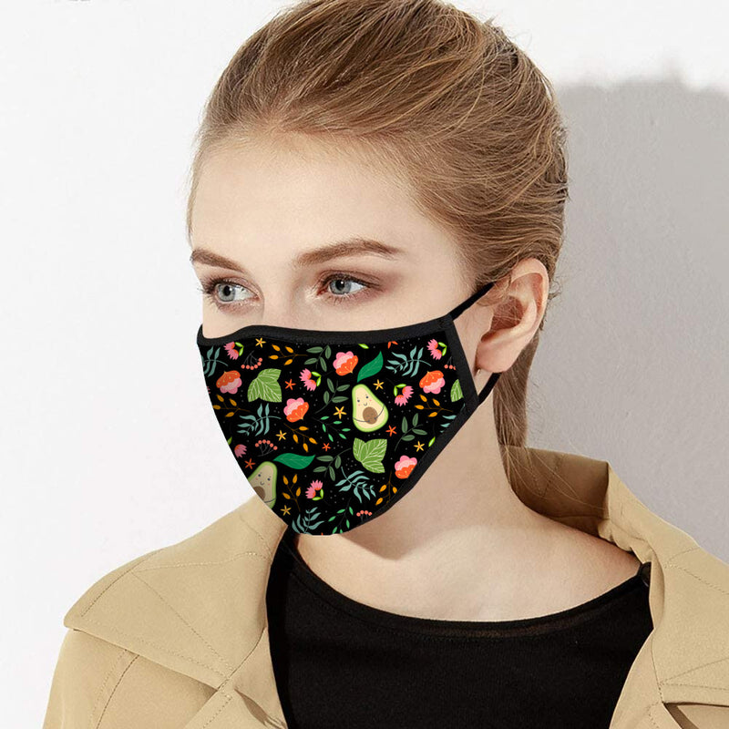 Avocado & Floral Print Designer Face Mask - Made in USA