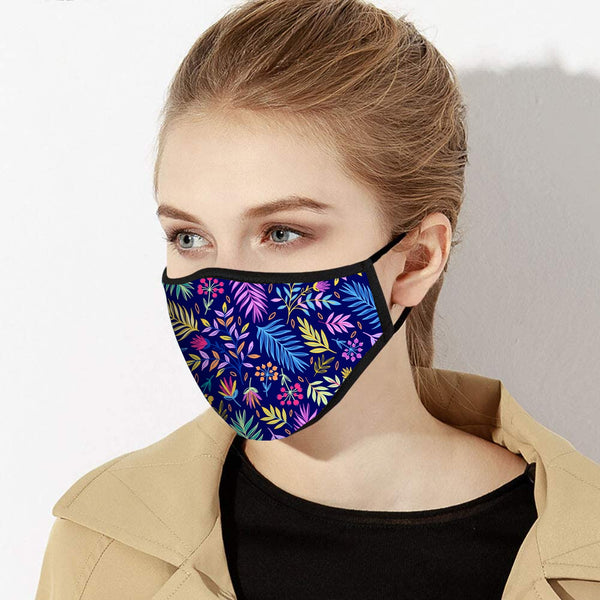 Neon Jungle Floral Print Designer Face Mask - Made in USA