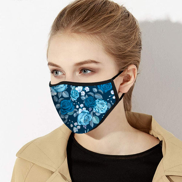 Shades of Blue Tea Roses Designer Face Mask - Made in USA
