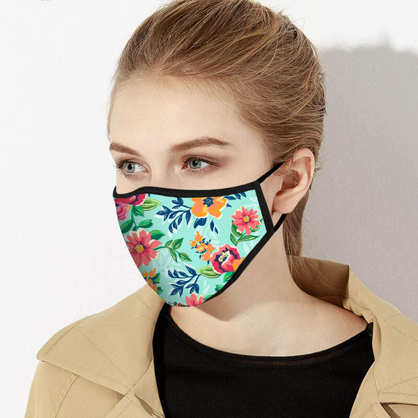 Bright Bold Beautiful Teal Floral Print Designer Face Mask - Made in USA
