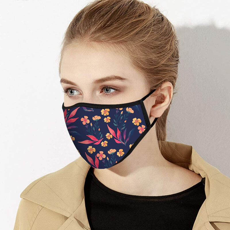 Peach & Mauve Floral Print Designer Face Mask - Made in USA