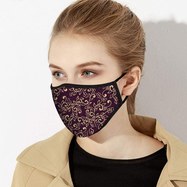 Purple & Gold Floral Classical Print Designer Face Mask - Made in USA