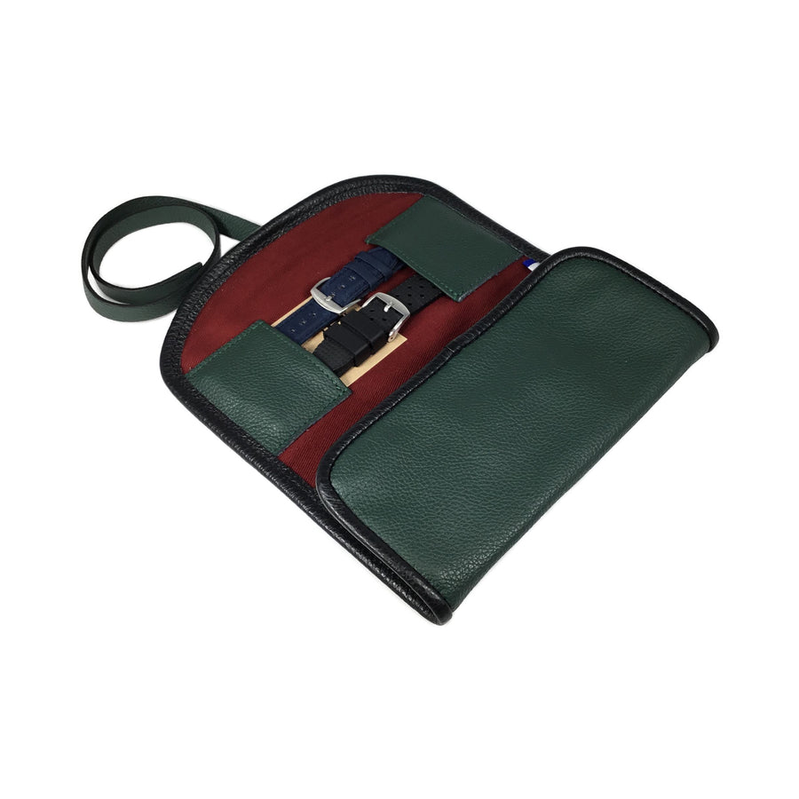 Etui pour 2 montres - Vert Anglais / Watch pouch for 2 - British Green