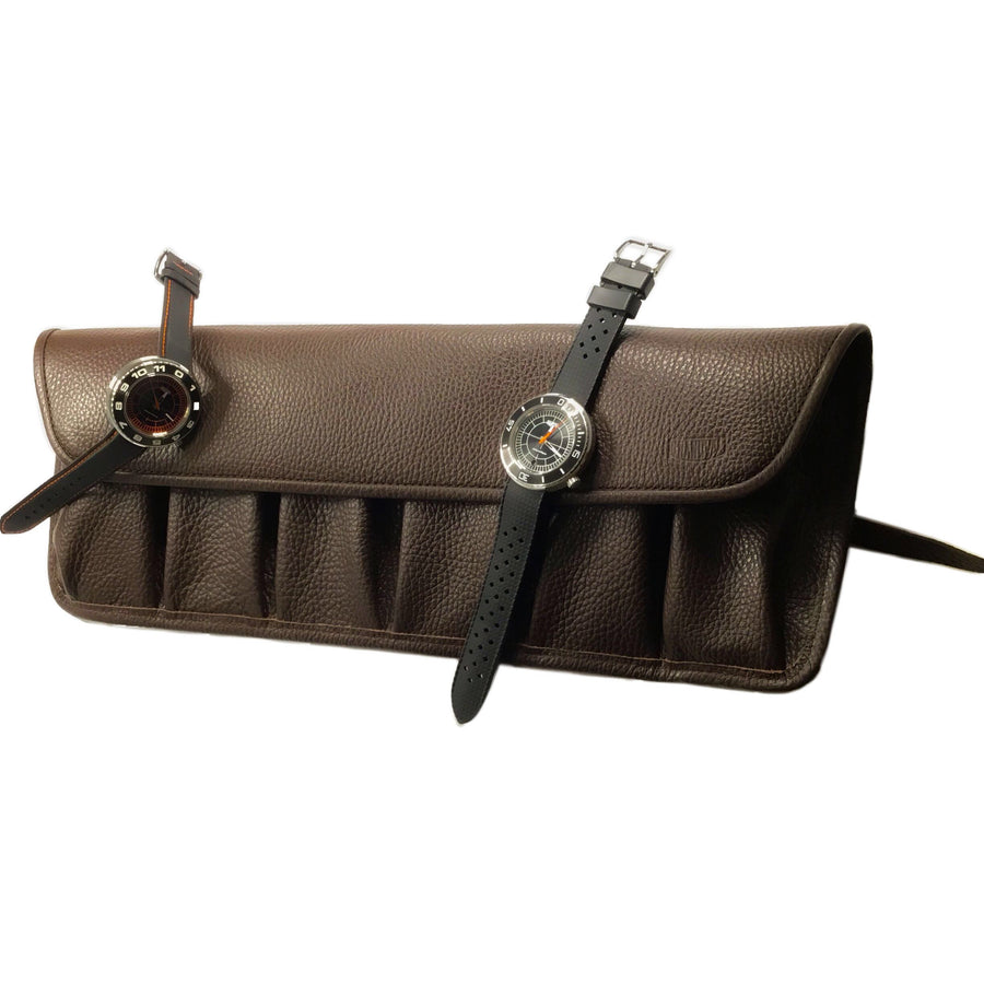 Rouleau 6 montres - Marron Chocolat / Watch Roll for 6 - Chocolate Brown