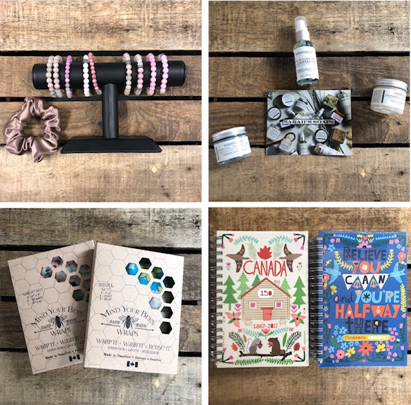 bracelets, mind your bees, notebooks, sarah's soaps