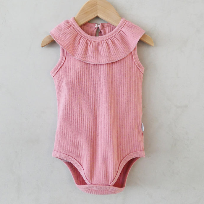 Dawn Tulip Pink Ribbed Onesie