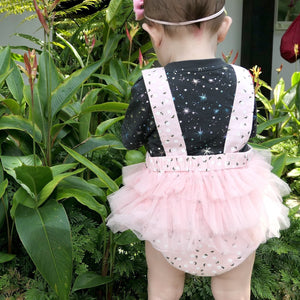 Jermaine Embossed Tulle Romper - Anak & I cotton and tulle with flora print baby girl toddler children clothes