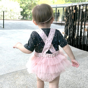 Jermaine Embossed Tulle Romper - Anak and I baby girl clothes