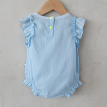 Load image into Gallery viewer, anak and i singapore baby girl ruffle sleeve linen cotton onesie romper anak & i