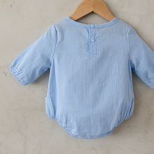 Load image into Gallery viewer, baby girl tassle blue onesie cotton linen romper anak & i sg anak and i singapore