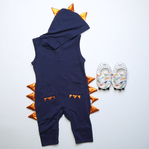 [Anak & I X Little Storkie] Jacob Dino Jumpsuit with Dino Shoes