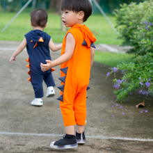 Load image into Gallery viewer, Anak and I Dinosaur Jumpsuit with Hoodie and spikes and pockets in orange baby boy and toddler children clothes