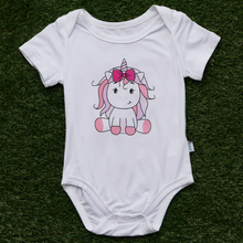 Load image into Gallery viewer, Anak and i baby girl bamboo cotton onesie romper with pink unicorn children clothes