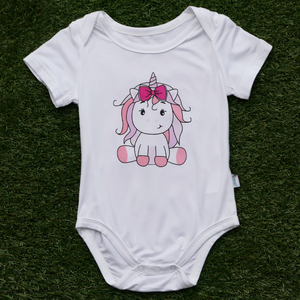 Anak and i baby girl bamboo cotton onesie romper with pink unicorn children clothes
