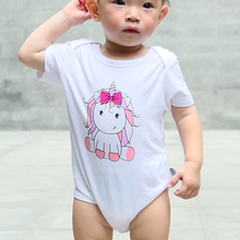Load image into Gallery viewer, pink unicorn baby girl onesie romper bamboo cotton