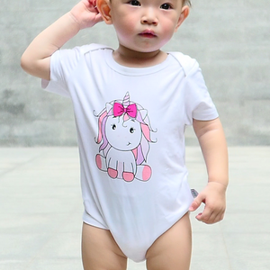 pink unicorn baby girl onesie romper bamboo cotton
