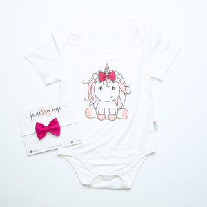 [Anak & I x Janessa Hye] Jaymie Unicorn Bamboo Onesie with Headband Set
