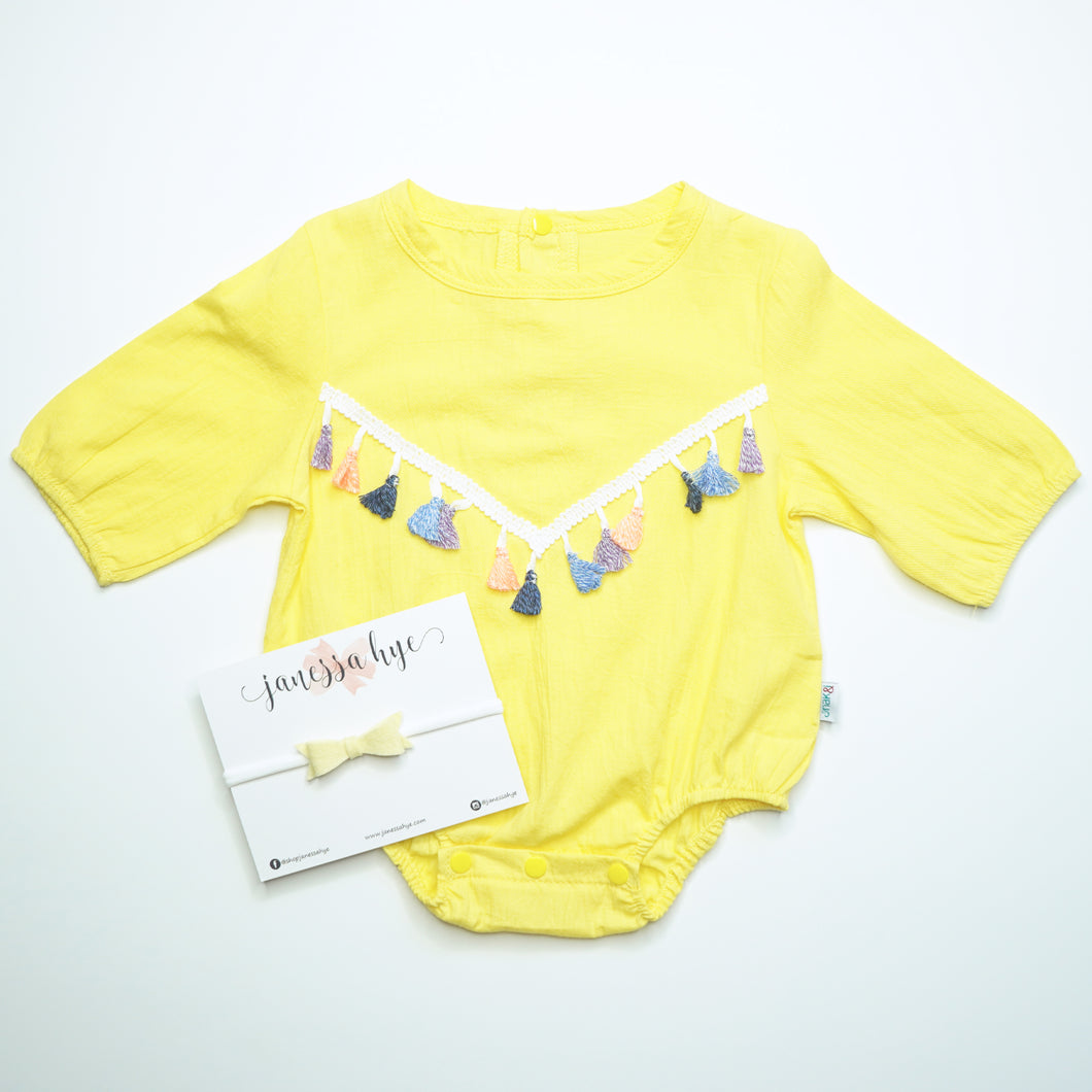 [Anak & I x Janessa Hye] Jeanette Tassels Onesie Yellow with Headband Set