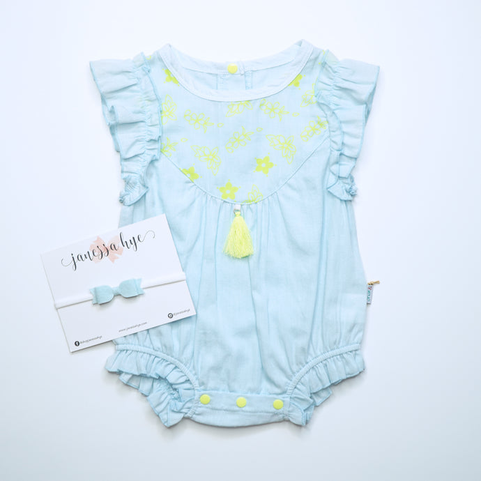 [Anak & I x Janessa Hye] Lara Ruffle Sleeve Onesie with Headband Set