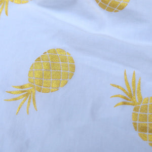 Nenas Onesie - White - Anak and I sg anak & i sg unisex baby boy baby girl romper onesie with golden pineapple print cotton spandex