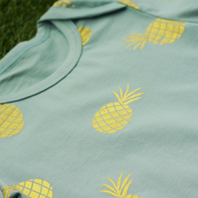 Load image into Gallery viewer, envelope neck baby toddler boy romper onesie in teal colour with golden pineapple print on cotton spandex anak and i sg anak & i sg
