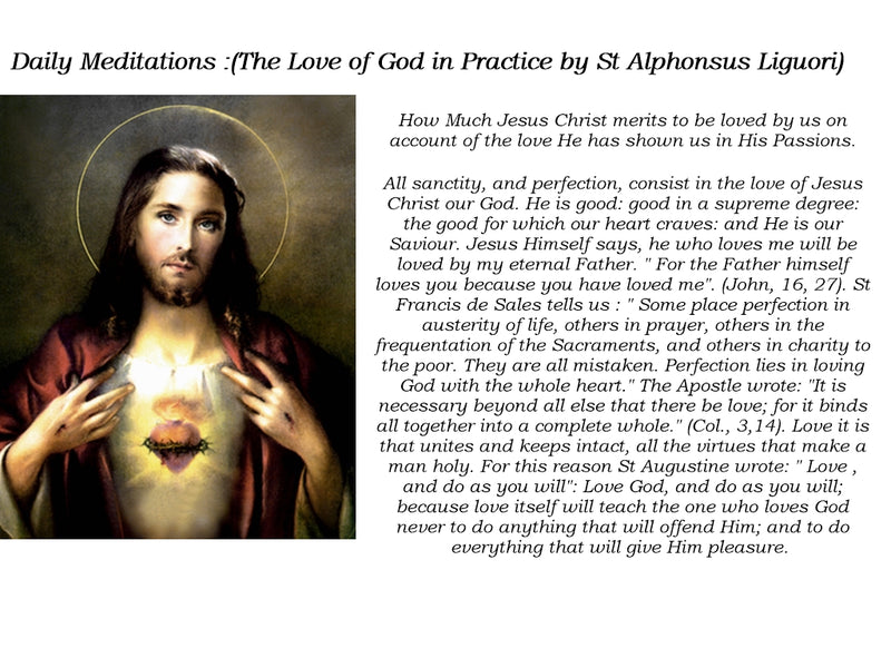 Daily Meditations (The Love of God in Practice by St Alphonsus Liguori)
